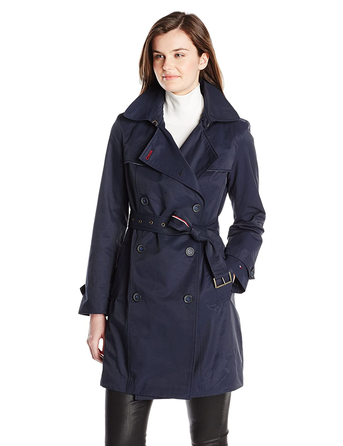 Tommy Hilfiger Womens Double-Breasted Trench Coat