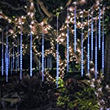 BlueFire Upgraded 50cm 10 Tubes 540 LED Meteor Shower Rain Lights, Falling Rain Drop Christmas Light, Waterproof Cascading lights for Holiday Party Wedding Christmas Tree Decoration (Blue) (Color: Blue)