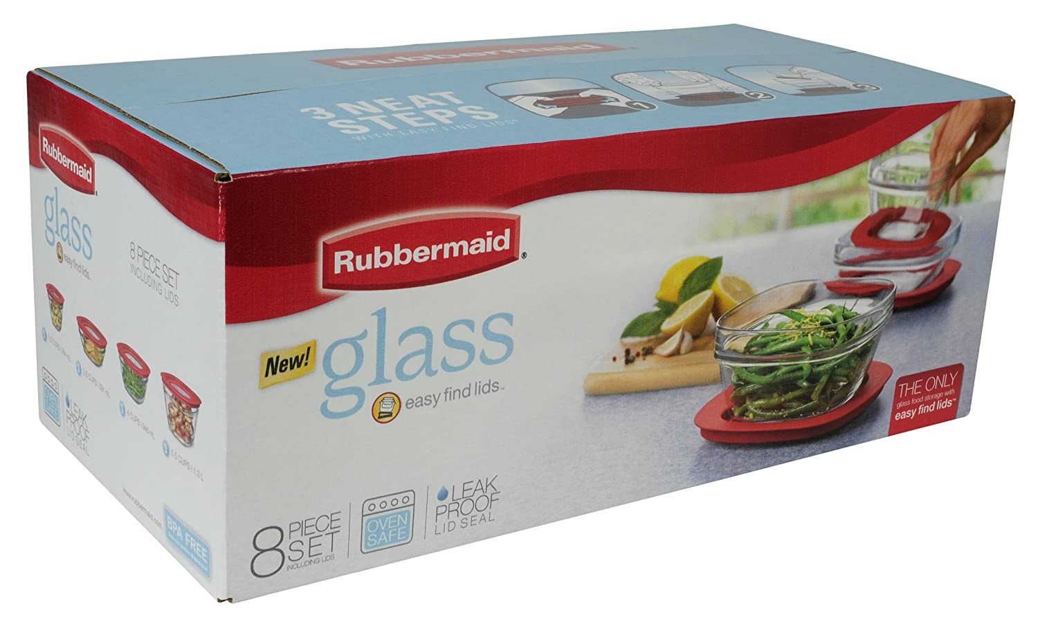 Rubbermaid Easy Find Lid Food Storage Container Glass 8