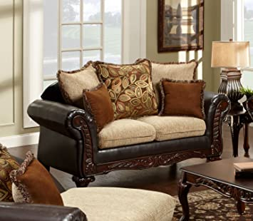 Chelsea Home Furniture Trixie Loveseat, Radar Havana/Bi-Cast Brown