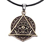 Paw Paw House Mayan Pyramid All Seeing Eye Pagan Wicca Pendant Necklace Spiritual Amulet Alloy 4031 (4031 Pyramid Antique Bronze)