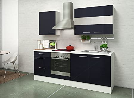 respekta Kitchen Unit Built-In Kitchen, 210 CM White High-Gloss Black Ceramic