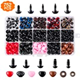 752pcs Safety Eyes and Safety Noses with Washers for Doll, Colorful Plastic Safety Eyes and Noses Assorted Sizes for Doll, Plush Animal and Teddy Bear Craft Making by AMOKIA