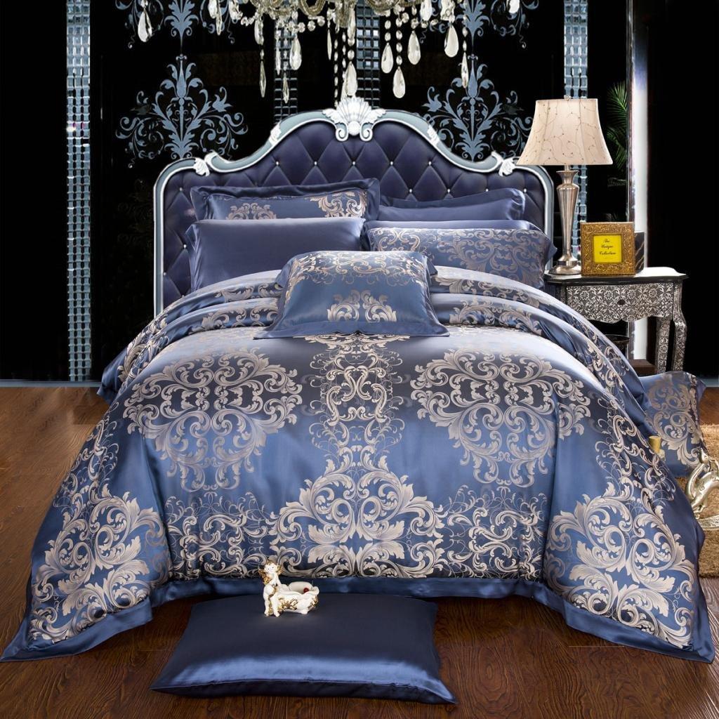 Orifashion Luxury 5-Piece Navy Blue Baroque-style 100% Silk Yarn-dyed Jacquard And Charmeuse Bedding Set, California King Size