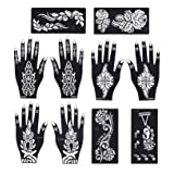 Stencils for Henna Tattoos Self-Adhesive Beautiful Body Art Temporary Tattoo Templates, Henna, Flower, Butterfly Designs (10 Sheets) (Color: 10 Sheets)