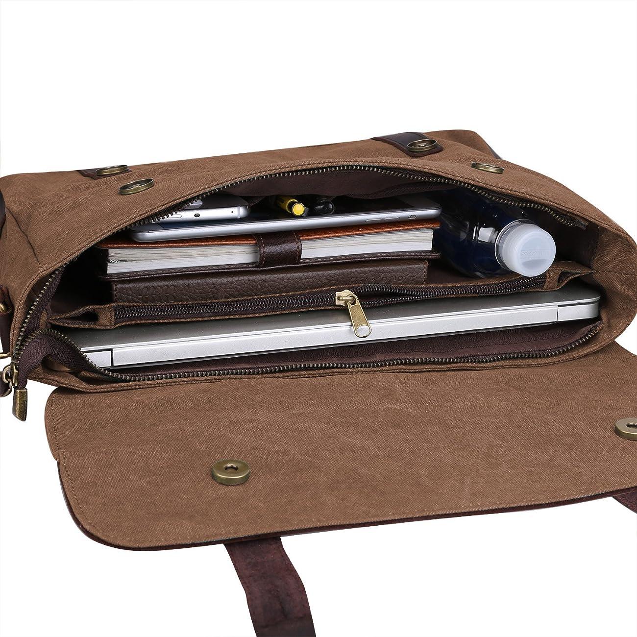 S ZONE Vintage Canvas Leather Messenger Traveling Briefcase Shoulder Laptop Bag 5