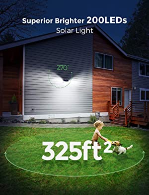 LITOM 200 LED Solar Lights Outdoor, 3 Optional Modes Wireless Motion Sensor Light with 270° Wide Angle, IP67 Waterproof, Easy-to-install Security Lights for Front Door, Yard, Garage, Deck, Porch-2Pack (Color: Cool White)