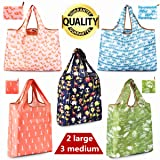 Reusable Shopping Bags, Foldable Grocery Bags, Reusable Grocery Tote Bags With Pouch Attached, Ripstop Polyester, Washable Lightweight(2 Large and 3 Medium) (Color: Reusable Shopping Bags(2 L & 3 M)-01, Tamaño: shopping bags reusable (2 Large - 3 Medium))