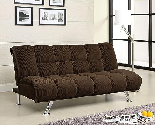 Furniture of America Jorgan Padded Corduroy Futon Sofa, Dark Chocolate Finish