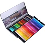 SJ STAR-JOY 72 Colored Pencils Professional Set for Adult Coloring Books, Premium Art Coloring Pencils with Vibrant Color, Perfect Holiday Gifts for Artist Drawing, Oil based soft core (Color: 72 colors with Tin Case)