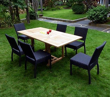 Mobiliario de jardín (teca y sillas de resina trenzada