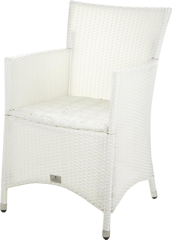 Gartenfreude Stuhl Polyrattan, Aluminiumgestell, stapelbar, Weiß, 60 x 56 x 86 cm online bestellen