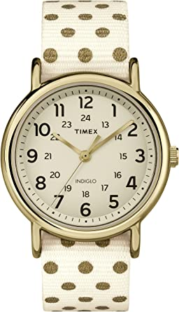 Timex Weekender TW2P661006S Analog White Dial Women's Watch with reversible strap