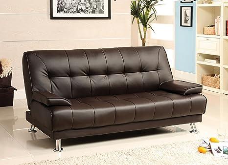 Furniture of America Parrington Leatherette Futon Sofa, Dark Brown Finish