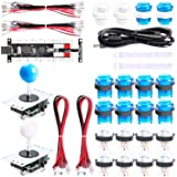 Easyget 2-Player DIY Arcade Kit Zero Delay 2-Player USB Encoder + 2X Joystick + 20x LED Arcade Buttons for PC, Windows, MAME, Mac & Raspberry Pi Retro Gaming DIY (Blue & White) (Color: Blue & White)