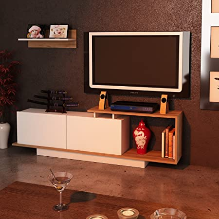 alphamoebel – Finkbeiner TV, mueble tv, puerta TV pared attrezzata estar ASOS), color blanco/marrón 3573