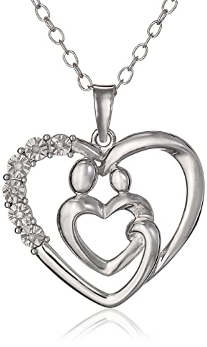 Mother-and-Child-Diamond-Heart-Pendant-Necklace-in-Sterling-Silver-on-an-18inch-Chain