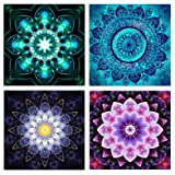 5D Full Drill Diamond Painting Kit,Hartop DIY Diamond Rhinestone Painting Kits for Adults and Beginner,Embroidery Arts Craft Home Office Decor 10 X 10 Inch(4 Pack of Mandala Flowers) (Color: 4 Pack of Mandala Flowers)