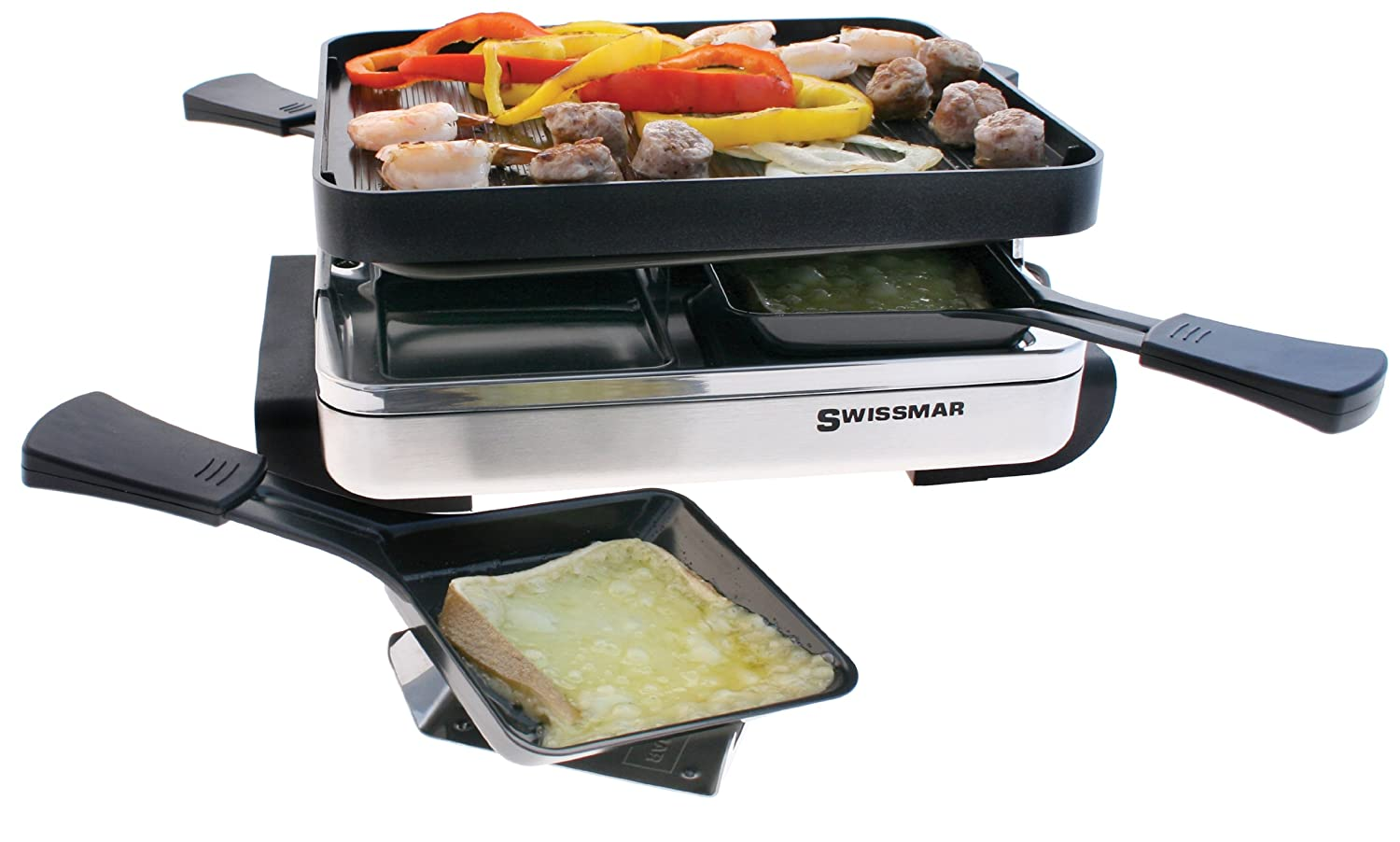 Swissmar KF-77480 4 Person Raclette with Reversible Grill/Griddle Plate, Black