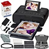 Canon SELPHY CP1300 Compact Photo Printer (Black) with WiFi and Accessory Bundle w/Canon Color Ink and Paper Set + Case + More (Color: Black, Tamaño: Printer + Case)