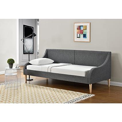 [en.casa]® Sofá-cama de elegante diseño - cama de día - de tela gris oscuro - con patas de madera - 200cm x 90xm