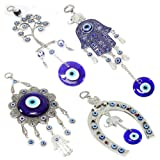 Set of 4 Blue Blue Evil Eye Keychain Key Ring Wall Hanging Amulets Hamsa Hand Unique Keychains Good Luck Gift (KT00039) ~ We Pay Your Sales Tax (Color: Blue)