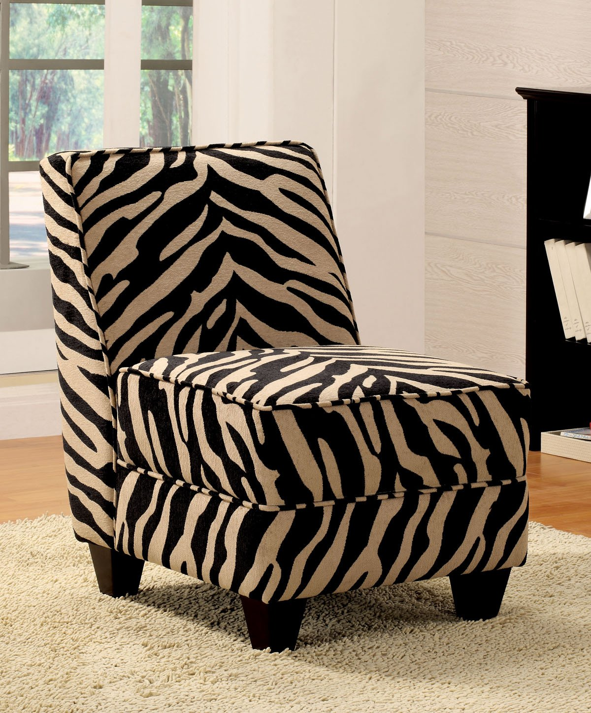 Zebra Stripe Print Accent Chairs