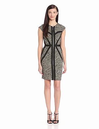 ERIN erin fetherston Women's Corrine Dress, Black/Gold Herringbone, 2