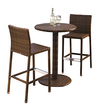Panama Jack Outdoor 3-Piece St Barths Pub Set, Includes 2 Stationary Barstools and 36-Inch Pub Table
