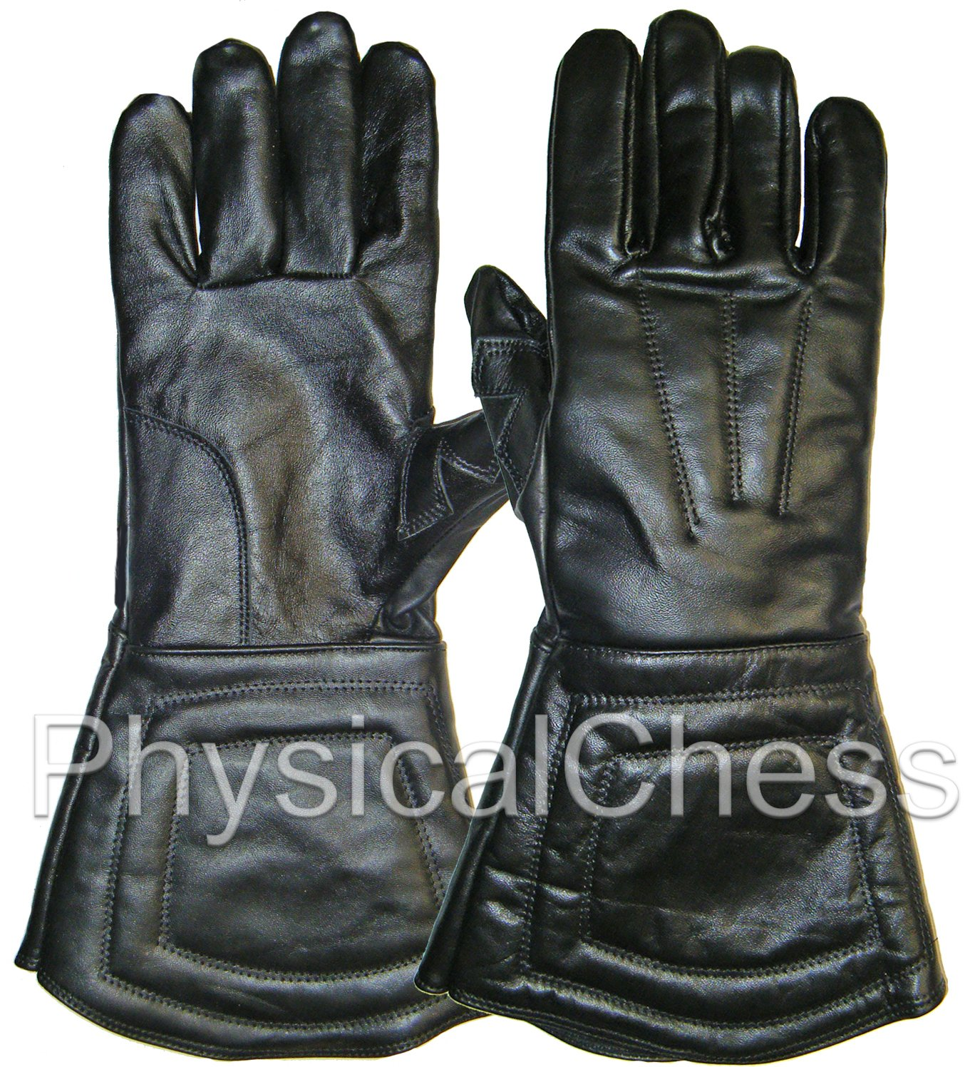 Black Leather Fencing SCA Medieval Halloween Costume Gloves, Pair chess