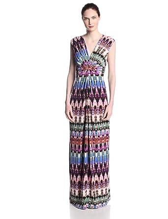 Eliza J Women's Sleeveless Knotted Printed Maxi Dress, Printed, 4