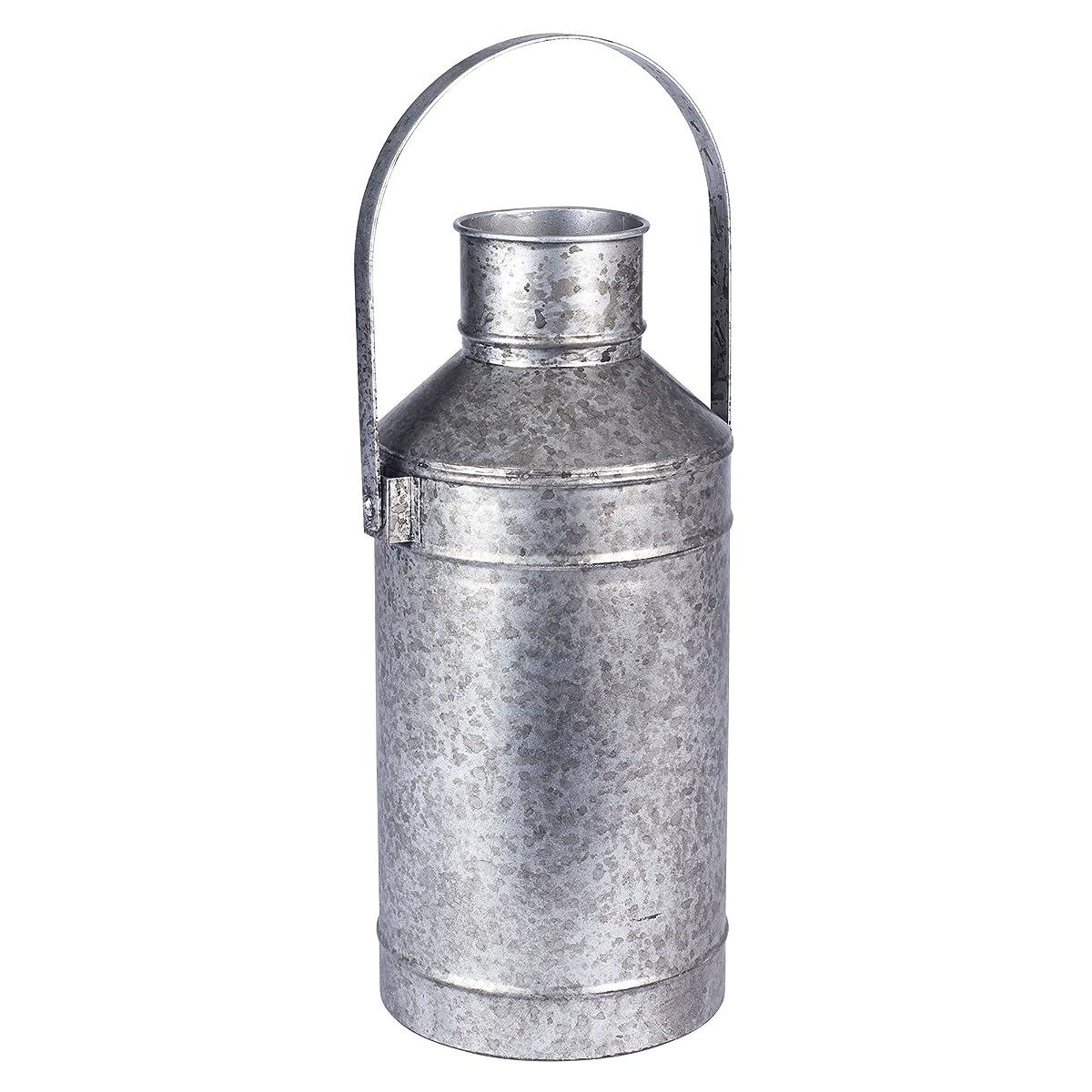 Vintage Style Milk Pail Vase - Grey Metal