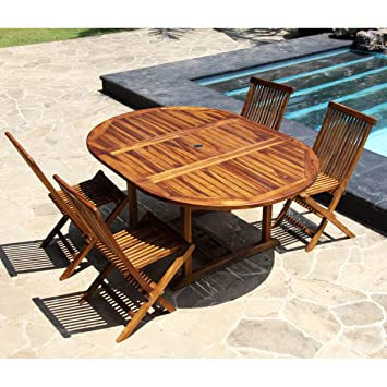 Salon de jardin teck huil 4 8 personnes table ronde ovale larg 120cm long 120 170cm 4 - Salon de jardin 8 personnes ...