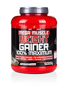 BWG Mega Muscle Weight Gainer 100% Maximum, Muscle Line, Mega Vanilla, Dose mit Dosierlöffel, 1er Pack (1 x 5000g)