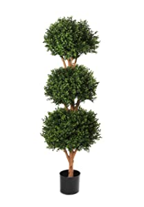 Artificial 4ft Boxwood Topiary Triple Ball Tree   Suitable for Outdoors / UV protected       Customer review and more description