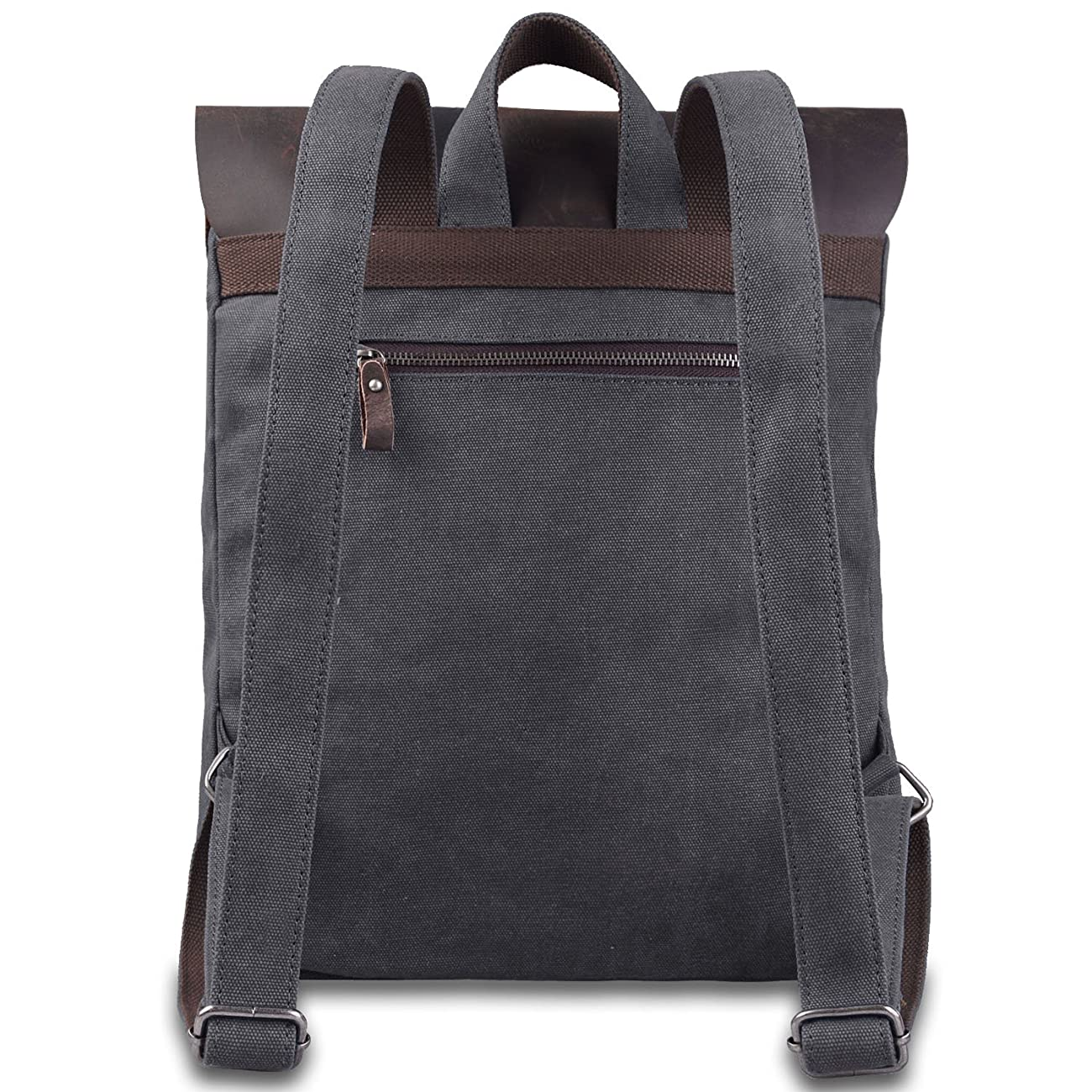Jack&Chris Vintage Canvas Leather School Backpack Rucksack Bag Daypack,MC2166 2