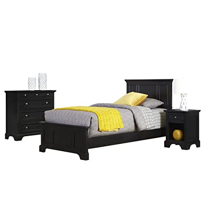 Home Styles 5531-4021 Bedford Twin Bed, Night Stand and Chest, Black
