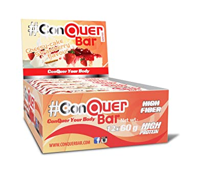ConQuer Bar 12er Pack (12x 60g) Cheesy-Cake Strawberry