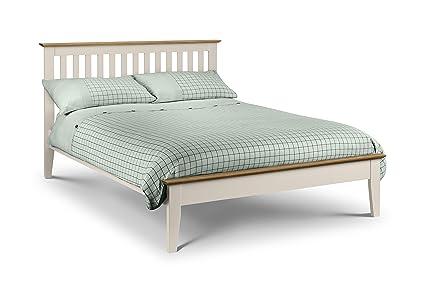 Julian Bowen Two Tone Salerno Shaker Bed, Wood, Oak/Ivory, 135 cm, Double