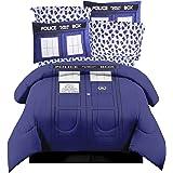 Doctor Who TARDIS 7pc KING Size Bedding ~ COMFORTER+ 2 PILLOW SHAMS + 4pc SHEET SET (Color: Blue, Tamaño: King)