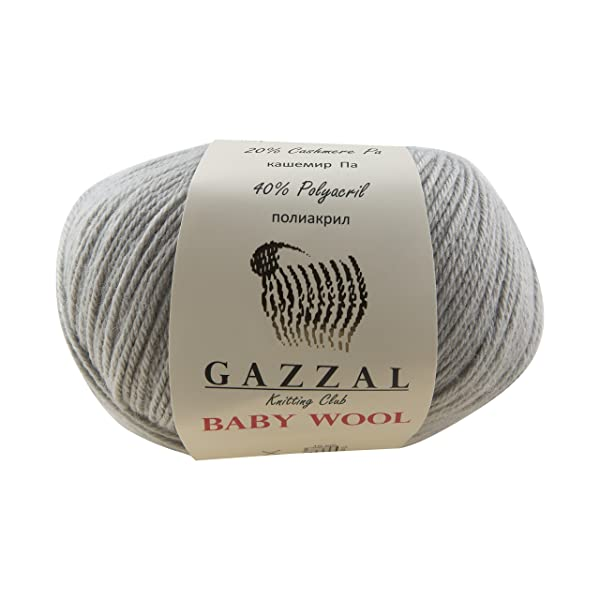 5 PACK - Gazzal Baby Wool 1.76 Oz (50g) / 218 Yards (200m) Fine Baby Yarn, 40% Lana Merino, 20% Cashmere Type Polyamide; (Grey - 817) (Color: Grey - 817, Tamaño: 5 Pack)