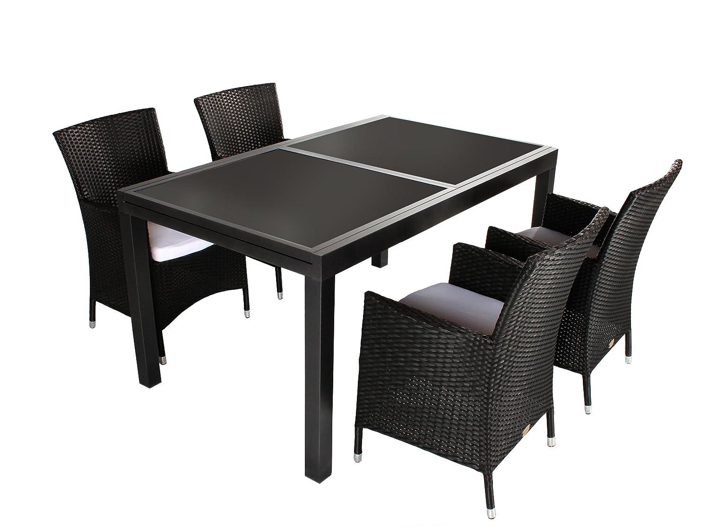 GARDENho.me 5tlg. Sitzgruppe VERONA Aluminium Ausziehtisch ca. 150/210 x 90 cm anthrazit, Polyrattan Sessel schwarz