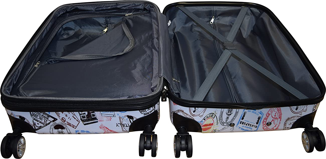 Kemyer 788 Vintage World Series Lightweight 3-PC Expandable Hardside Spinner Luggage Set 5