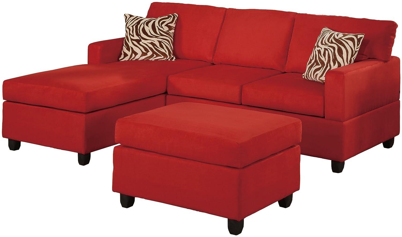 Bobkona Manhattan Reversible Microfiber 3-Piece Sectional Sofa Set - Red