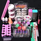 24 in 1 Combo Set Professional DIY Nail Art Decorations Kit Brush Buffer Acrylic Glitter Powder Cuticle Revitalizer Oil Pen Tool Nail Tips Rhinestones Pearls Reusable Form Glue Acrylic Set (27set) (Color: 27set)