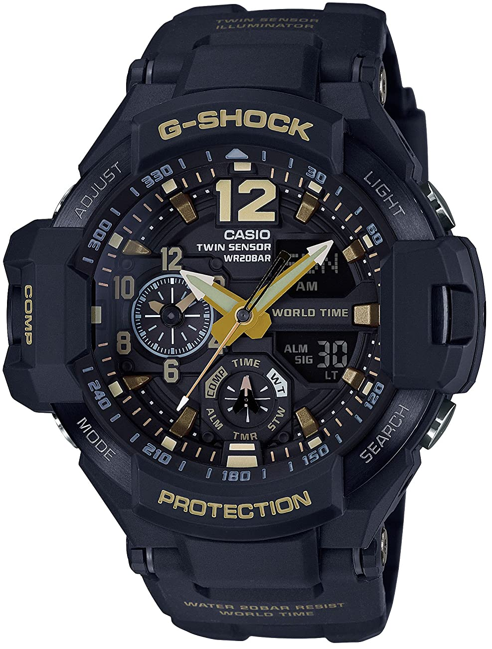 CASIO G-SHOCK MASTER OF G Vintage Black & Gold GRAVITYMASTER GA-1100GB-1AJF MENS JAPAN IMPORT 0