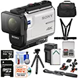 Sony Action Cam FDR-X3000 Wi-Fi GPS 4K HD Video Camera Camcorder with Chest & Helmet Mounts + 64GB Card + Battery & Charger + Case + Tripod + Kit (Color: White)
