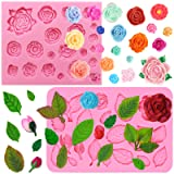 FUNSHOWCASE Rose and Leaf Collection Silicone Fondant Molds Set 2-Count (Color: 1462 2758 Assorted Roses & Leaves 2-count)