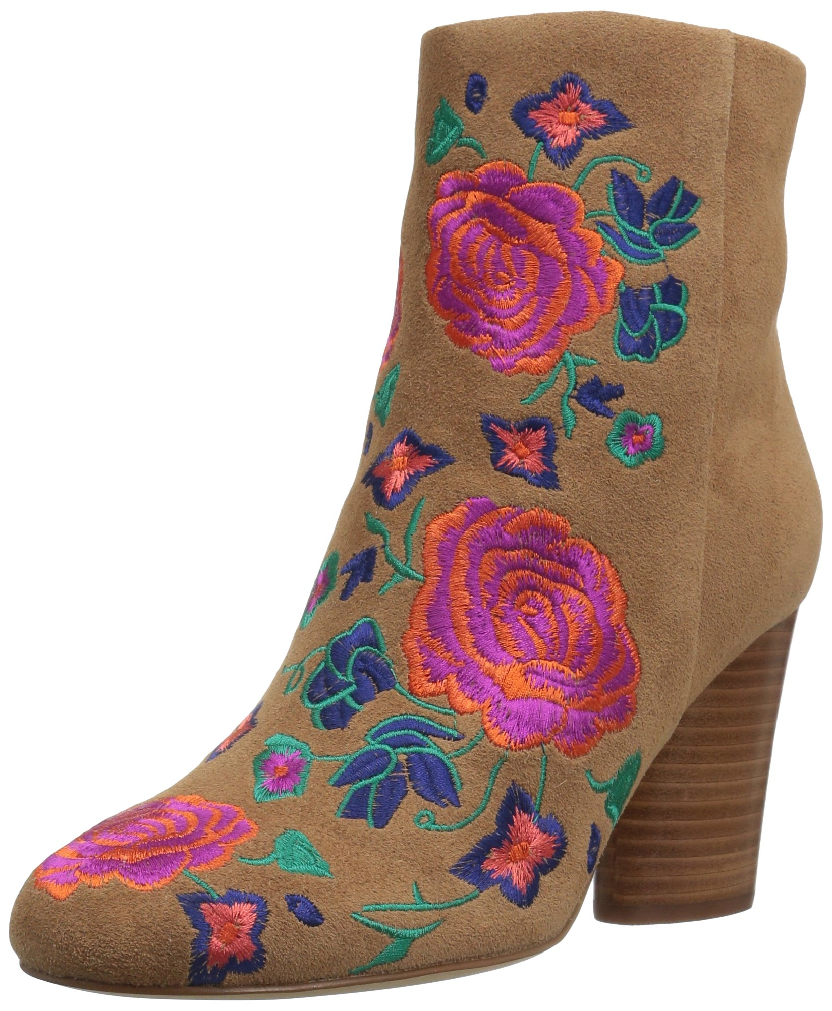 Floral Embroidery Ankle Bootie
