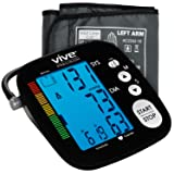 Blood Pressure Monitor by Vive Precision - Automatic Digital Upper Arm Cuff - Accurate, Portable and Perfect for Home Use - Electronic Meter Measures Pulse Rate - 1 Size Fits Most Cuff, Black (Color: Black)